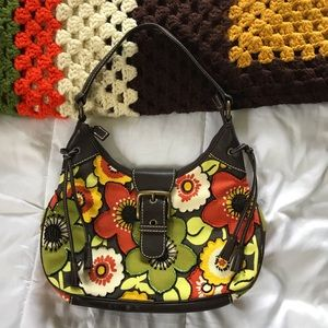 Isabella Fiore Brown Leather Floral Beaded purse